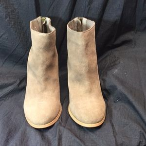 Urban outfitters taupe booties size 10 zipper back